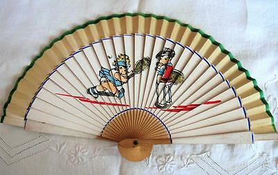 VINTAGE 1940's CHILDREN'S PRINTED WOOD HAND FAN - BOY & GIRL PLAYING TENNIS