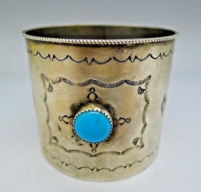Jessie Claw Navajo Sterling Silver Turquoise Etched Cup AUCTION NO RESERVE RARE