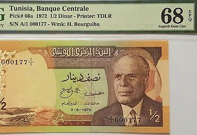 Tunisia-1/2 Dinar-1972-S.n A/1 000177-Lot 1 *pmg 68 Superb Gem Unc*finest Known*
