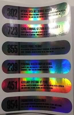 • Star Trek • Chrome Foil Gndn • Lcars Prop Replica Label Decals • Set Of Six •