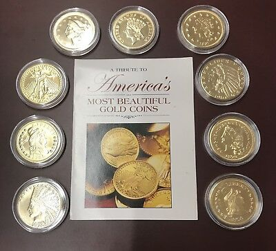 A Tribute To Americas Most Beautiful Gold Coins 9 Coin Set in Capsules +Pamphlet