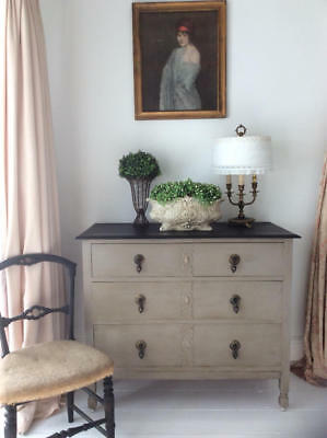 ~*Vintage Oak French Linen/Graphite Painted 3 Drawer Chest of Drawers*~