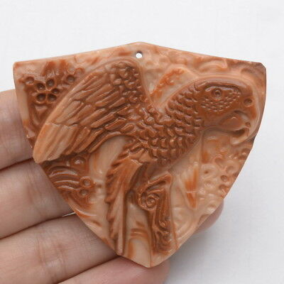 Carved Parrot Natural Red Malachite Gemstone Pendant Bead 59X54X8Mm
