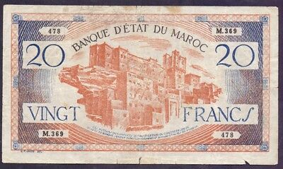 20 Francs From Morocco - French Colony  B5