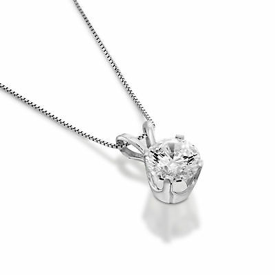 0.70 CT Round New Solitaire Enhanced Diamond Pendant Chain 14K White Gold H/SI1