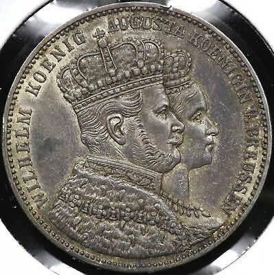 1861A One 1 Thaler Prussia Germany Coronation Of Wilhelm And Augusta #2