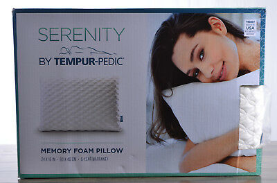 Tempur-Pedic Serenity Memory Foam Bed Pillow 24 x 16 Made in USA Firm Support