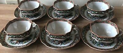 Superb Chinese Porcelain Antique Set of 6 Thousand Butterflies Cups & Saucers