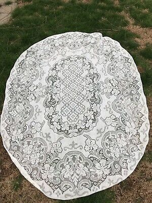 Vintage 1980'S Era Ecru/off White Polyester Floral Lace Oval Tablecloth