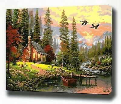 FOREST COTTAGE PAINTING PAINT BY NUMBERS CANVAS KIT 20 x 16 ins FRAMELESS