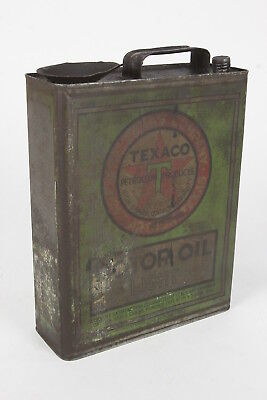 Texaco Light Motor Oil Can Red Green 1 Gallon Vintage The Texas Co Port Arthur