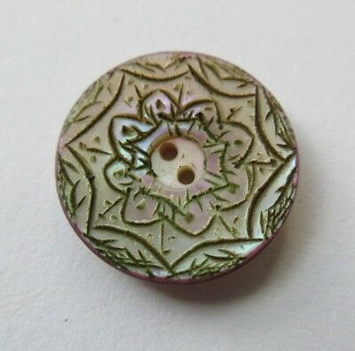"""Gorgeous Antique~ Vtg Dyed Carved MOP Shell BUTTON w/ Incised Design 3/4"""" (R20)"""