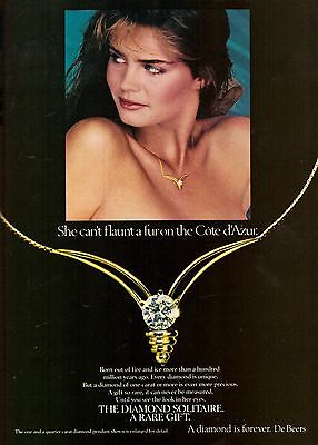 1982 DeBeers A Diamond is Forever Ring Advertisement Print Ad Vintage VTG 80s