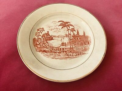 Aesthetic Movement W.B. JR & CO IRONSTONE CHINA Plate, Palm Trees, Late 1800s