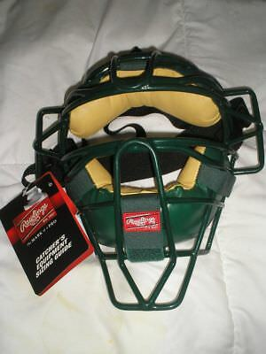 Rawlings Green Tan Catchers Umpire Face Mask Chin Protector Adjustable New