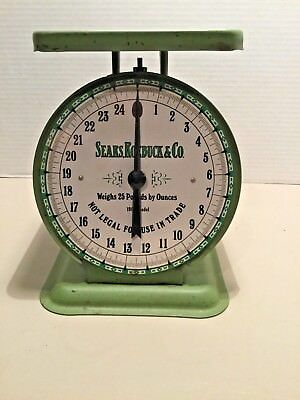 Sears Roebuck 1906 Model 25 lb. Vintage Kitchen Scale & Tray Green Eagle Country