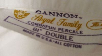 """Vintage Cannon Royal Family Combed Percale sheet 81"""" Long Double 100% cotton USA"""