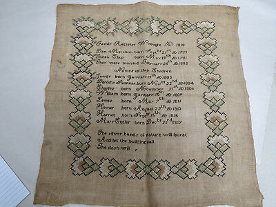 Very Early American Sampler Wrought Ca 1818 Family Register Colorful Border
