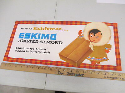 ESKIMO PIE Toasted Almond 1950s butterscotch ice cream store display paper sign