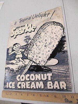 Gold Mine Sparkle Coconut 1960s ice cream store display poster sign SURFER KID