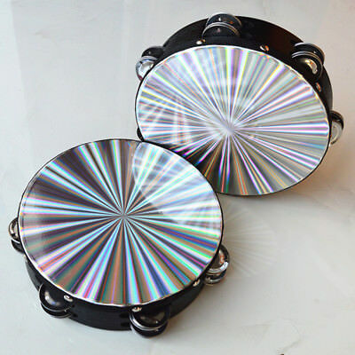 8'' Reflective Tambourine Percussion Double Row-Stock Church Band Music