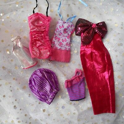 skirt purple top pink barbie ball gown dresses doll clothes set uk seller