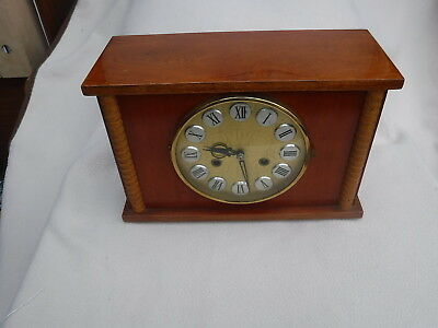 Mantle Clock Redwood Square Cased Large Dial Ting Tang Striking  1Yr Warranty