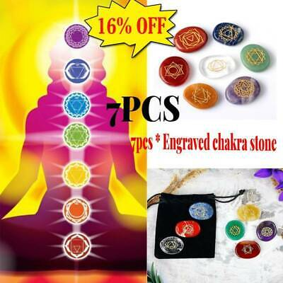 7Pcs/Set Engraved Spiritual Healing Meditation Palm Stones Reiki Chakra Energy