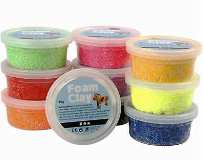 Set of 10 Assorted Colours of Foam Clay Tubs for Kids & Adults Modelling