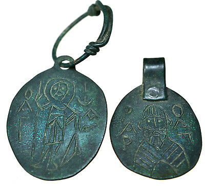 Lot of two Byzantine Bronze Icon Pendants