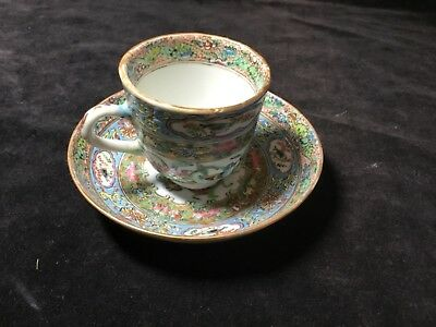 """antique Chinese porcelain cup saucer late 18thC Qing lovely painting ducks 4.5"""""""