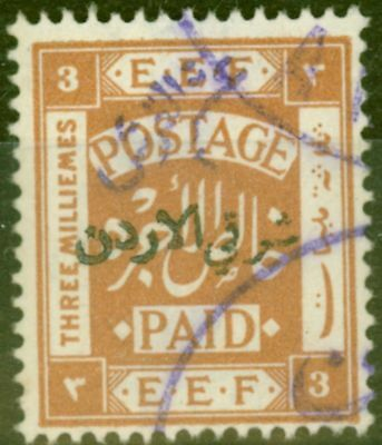Transjordan 1922 5/10p on 3m Yellow-Brown SG22d Violet Surcharge V.F.U