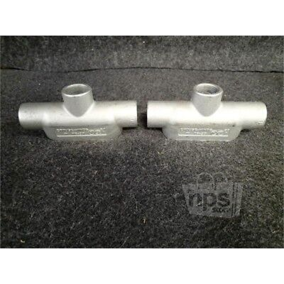 """Box of 2 Crouse-Hinds TB37 1"""" Form 7 Conduit Bodies, Iron Alloy"""