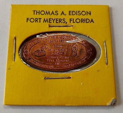 THOMAS A EDISON Fort Meyers Florida Myers FL Elongated 1971 Copper Pressed Penny