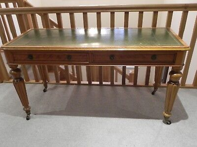 Antique Writing Table Satin Birch Green Leather Top Drawers 1870s