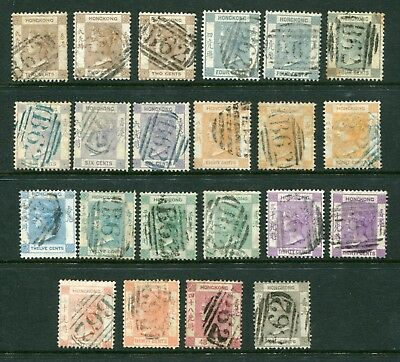 1863/71 China Hong Kong QV selection 22 x Classic stamps + shades Used to 96c