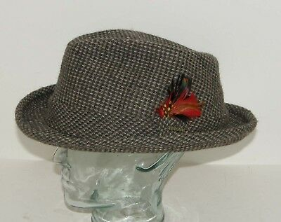 Vintage Stetson Winston Brown Tweed Red Feather Fedora Hat Sz 8 100% Wool 874f7f32385