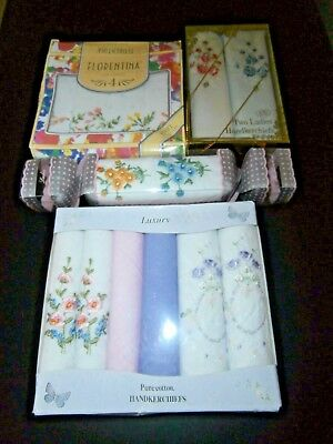 JOB LOT 14 BOXED VINTAGE LADIES COTTON HANDKERCHIEFS ~ FLORAL with EMBROIDERY