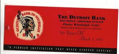 vintage ink blotter The Detroit bank Indian logo oldest bank in Michigan