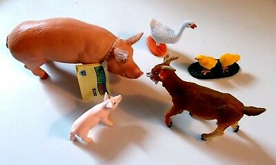 Lot of 5 Safari Ltd® Farm Animals, BOAR, CLASSIC PIGLET, GOAT, GOOSE, 2 CHICKS