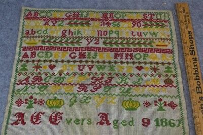 antique 19th c 1867 sampler letter numbers flowers trees hearts cross