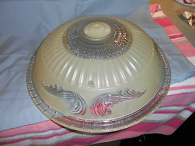Vintage Victorian Art Deco 3 chain ceiling light lamp shade Clear and Frost Nice