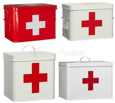 Metal First Aid Box Medicine Storage W Cross Tin Lid Container Retro Red White