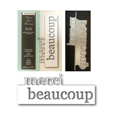 GRAND MERCI BEAUCOUP metal die French Thank You word Memory Box cutting dies
