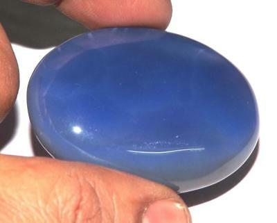 116 cts 100% Natural Untreated Blue Onyx Cabochon 48 x 35 mm Gemstone #ycx02