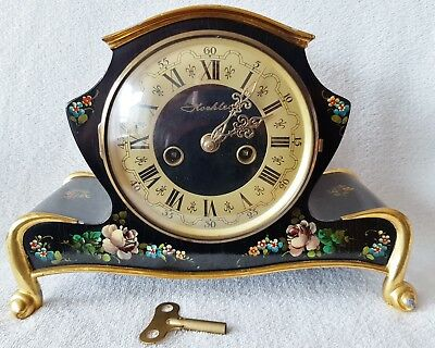 Mantle Clock German Koehler 8 Day Art Deco Piano Black Paint Floral