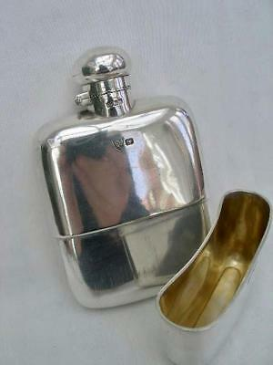 Superb Edwardian Good Quality All Sterling Silver Hip Flask Sheffield 1902.