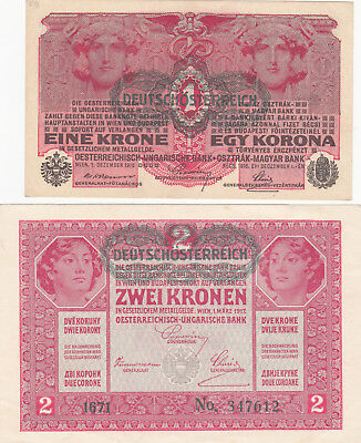 1&2 Korona/kronen Aunc Banknotes With An Austrian Stamp!1918!pick-49-50!