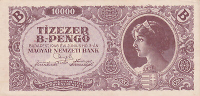 10 000 Bilpengo From  Hungary 1946 Ef Crispy Banknote!pick-132!