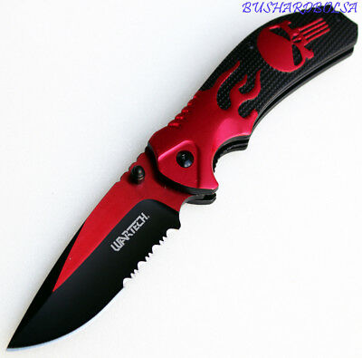 Wartech Thumb Open Spring Assisted Skull Aluminium Handle Pocket Knife  PWT256RD